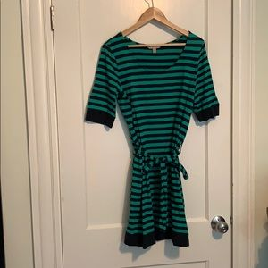 Green and navy striped cotton dress